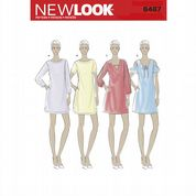 6467 New Look Pattern: Misses' Shift Dresses with Neckline, Sleeve and Hem Variations